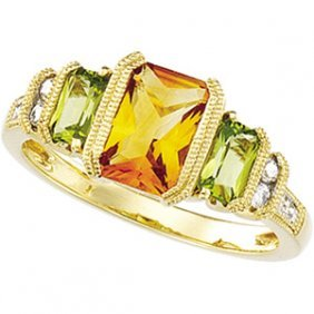 14K GOLD RING GENUINE CITRINE PERIDOT AND 8 DIAMOND