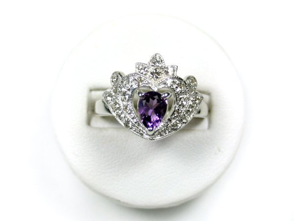 STERLING SILVER RING AMETHYST SWAROVSKI CRYSTALS Size 9