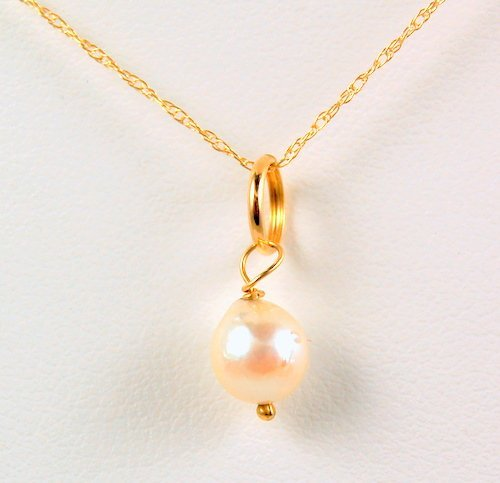 14K GOLD NECKLACE CULTURED PEARL PENDANT ON CHAIN
