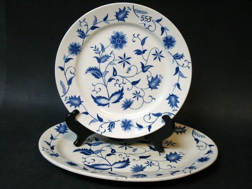 ANTIQUE - TWO PLATES BLUE ONION PATTERN MADE JAPAN