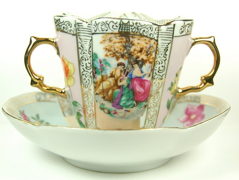 ANTIQUE DOUBLE HANDLED CUP AND NUT BOWL HALLMARK R