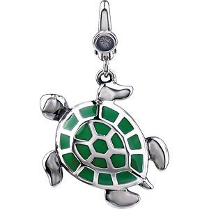 STERLING SILVER CHARM AND PENDANT TURTLE GREEN ENAMEL