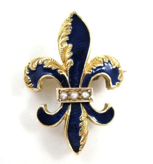 ANTIQUE GOLD WATCH PIN FLEUR DE LIS COBALT BLUE ENAMEL