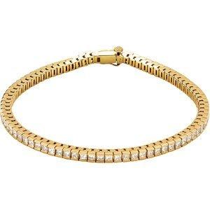 14K GOLD TENNIS BRACELET PRINCESS DIAMONDS = 4 CARATS!