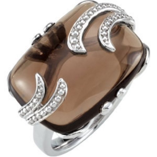 STERLING SILVER RING LARGE SMOKY QUARTZ TOPAZ = 10