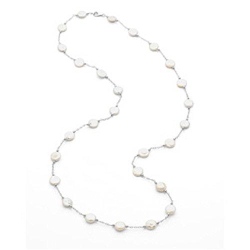 STERLING SILVER NECKLACE WHITE COIN PEARL 38 INCH