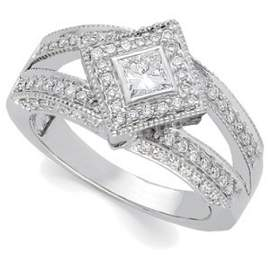 GOLD DIAMOND RIGHT HAND RING .75 CTS!
