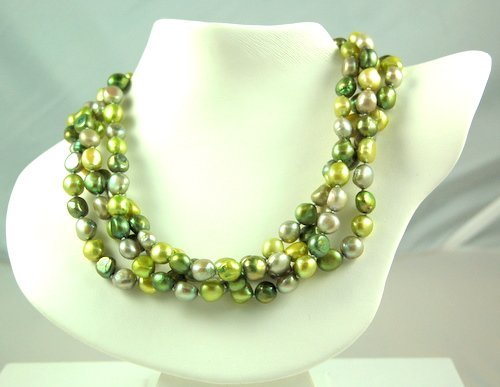 GREEN FRESHWATER PEARL NECKLACE 64 INCH LONG!