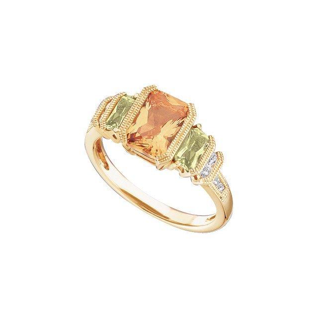 14K YELLOW GOLD RING GENUINE PERIDOT w  CITRINE