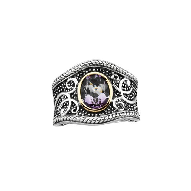 STERLING SILVER RING GENUINE AMETHYST = 2.50 CARATS