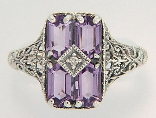 ANTIQUE STYLE STERLING SILVER RING 4 AMETHYST W DIAMOND
