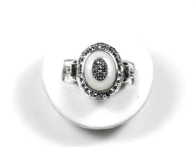 STERLING SILVER RING MOTHER OF PEARL MARCASITE SZ 9