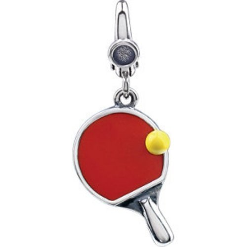 STERLING SILVER PING PONG PADDLE W BALL CHARM PENDANT