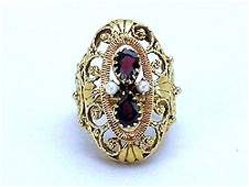 VINTAGE 14K GOLD RING GARNET w PEARL RETAIL $1325!