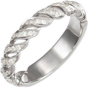 WHITE GOLD WEDDING BAND 36 DIAMOND FINE G/H
