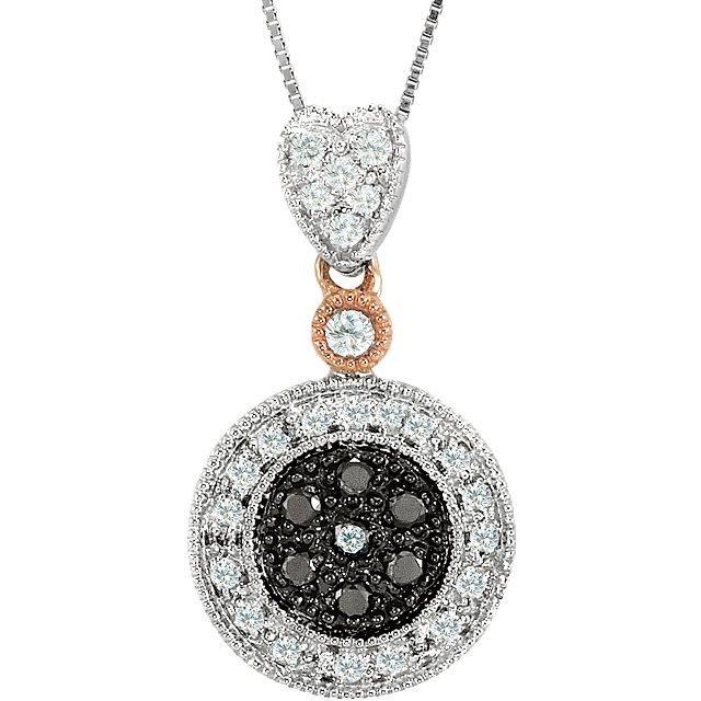 WHITE GOLD NECKLACE BLACK WHITE DIAMOND RETAIL $1200!