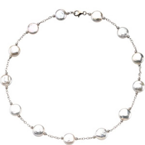 STERLING SILVER NECKLACE WHITE COIN PEARL 18 INCH