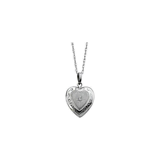 14K WHITE GOLD LOCKET HEART SHAPED PENDANT WITH DIAMOND
