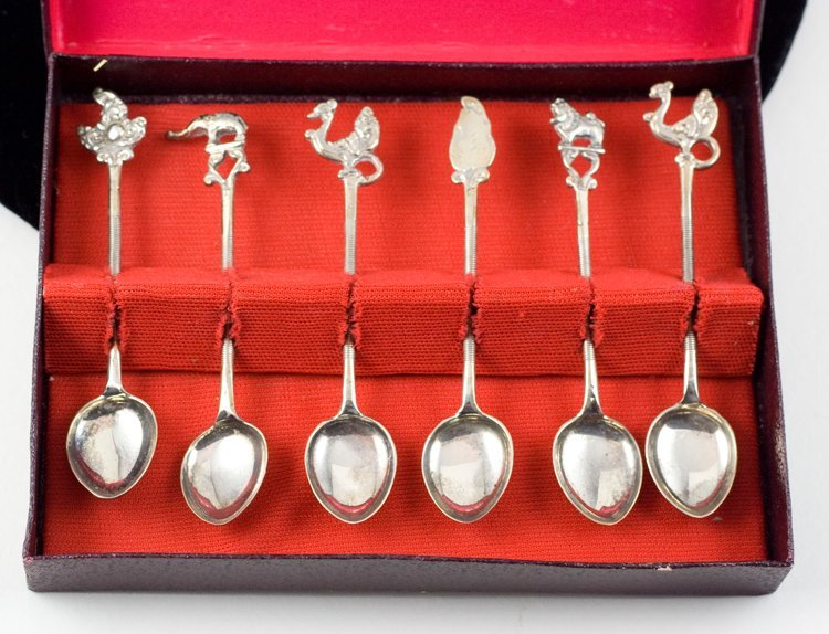 STERLING SILVER COFFEE SPOONS MYTHICAL FIGURES ANTIQUE