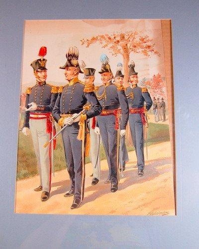 LITHOGRAPH H. A. OGDEN U.S. MILITARY UNIFORM 1885