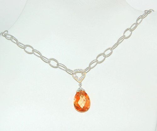 NECKLACE CZ CHAMPAGNE PENDANT STERLING SILVER