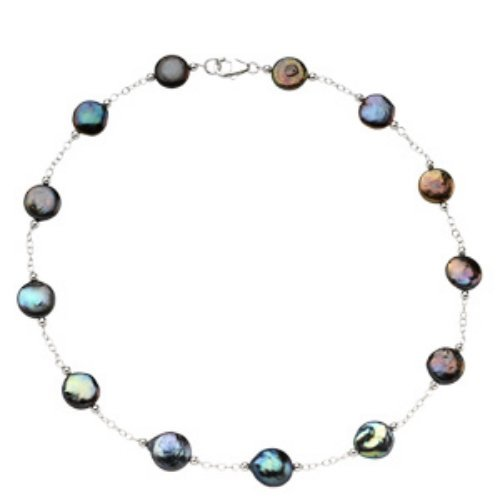 NECKLACE BLACK COIN PEARL STATIONS STERLING SILVER