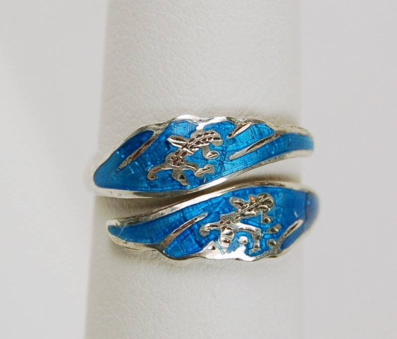 RING BYPASS DESIGN TURQUOISE ENAMEL STERLING SILVER