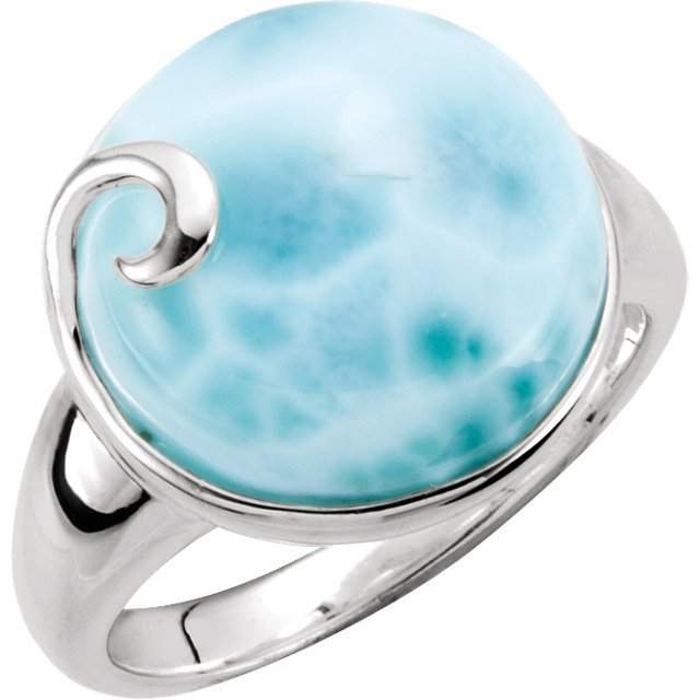GENUINE BLUE LARIMAR RING STERLING SILVER RETAIL $190 +