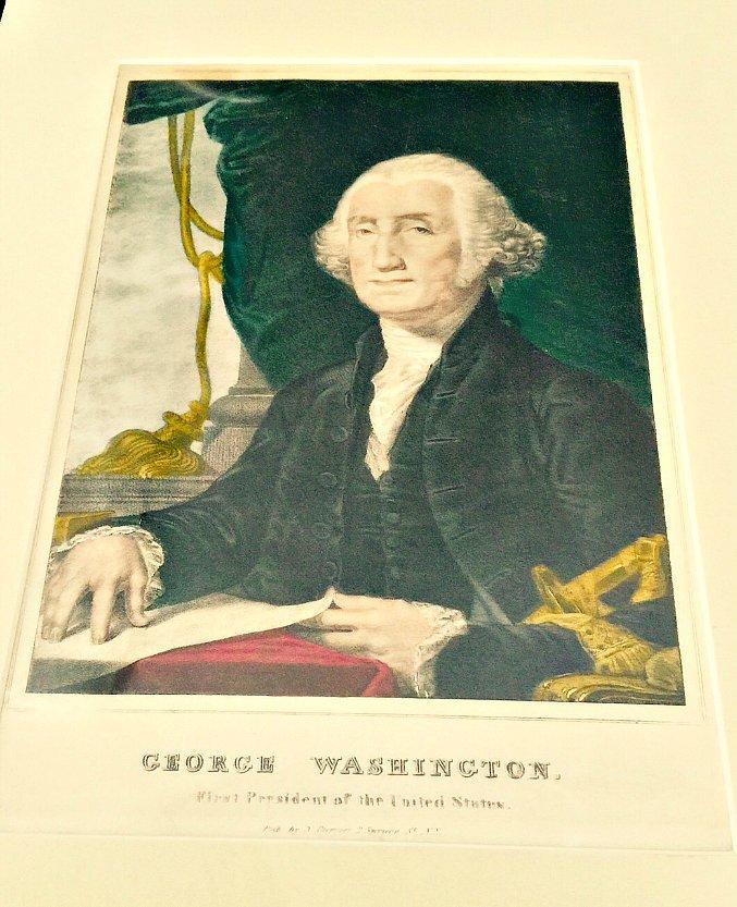 ORIGINAL N. CURRIER LITHOGRAPH GEORGE WASHINGTON FIRST