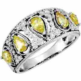 CANARY SAPPHIRE w DIAMOND RING WHITE GOLD RETAIL $2100!