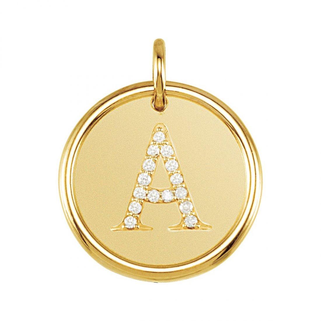 "Pendant - 14k Yellow Gold .07 CTW Diamond Initial ""A"""