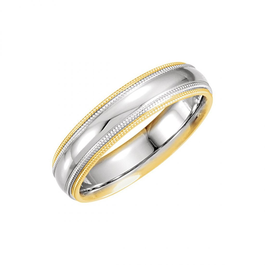 Ring - 14k White Gold & Yellow 5.5mm Comfort-Fit Double