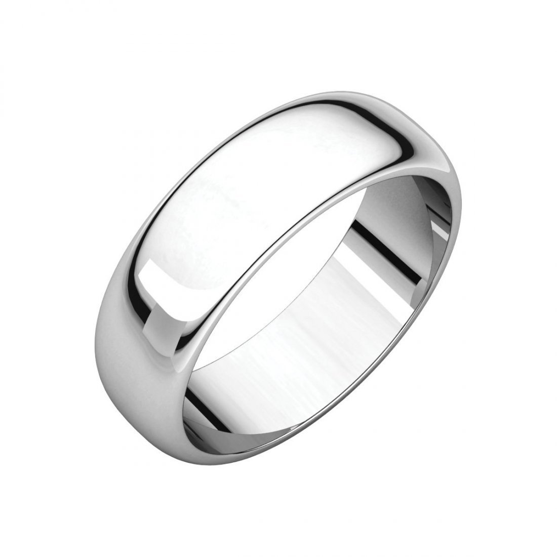 Ring - 14k White Gold 6mm Half Round Band
