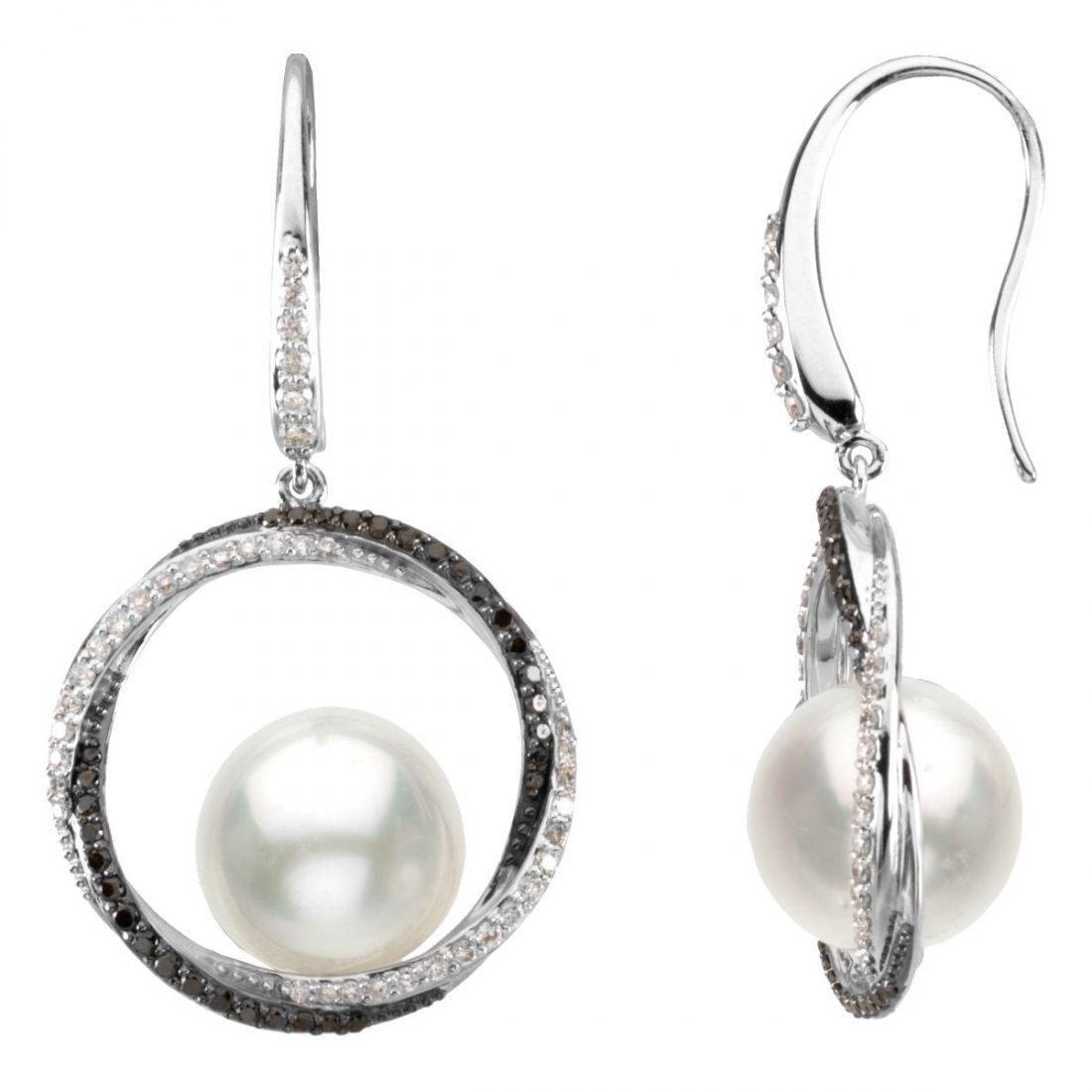 Earrings - 14k White Gold 3/4 CTW Diamond & 11mm South