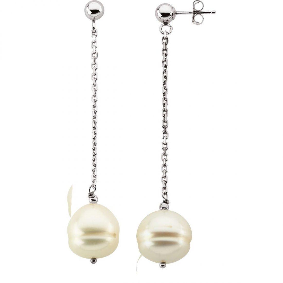 Earrings - 14k White Gold 9-11mm Freshwater Cultured