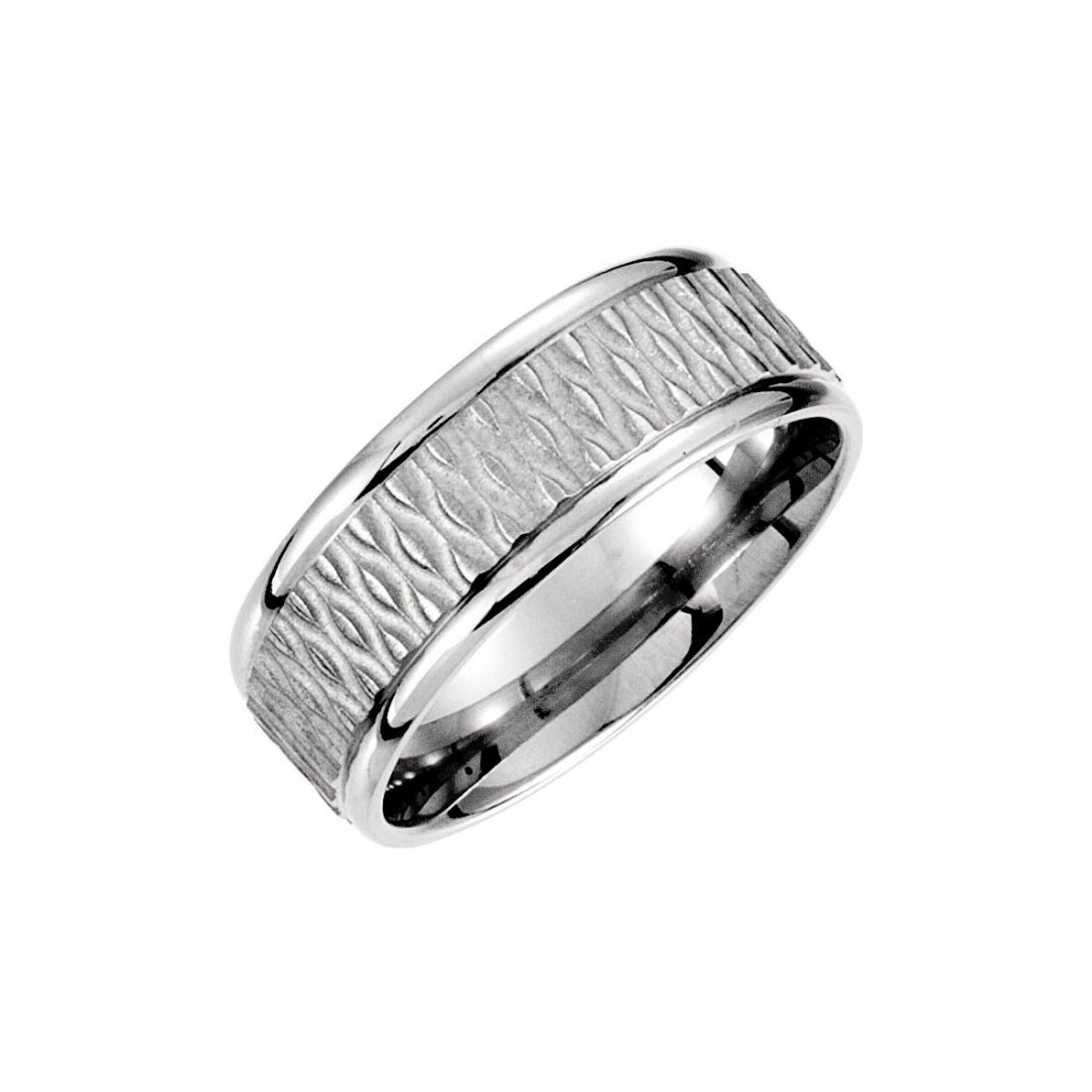 Ring - 14k White Gold 8mm Fancy Patterned Carved Band