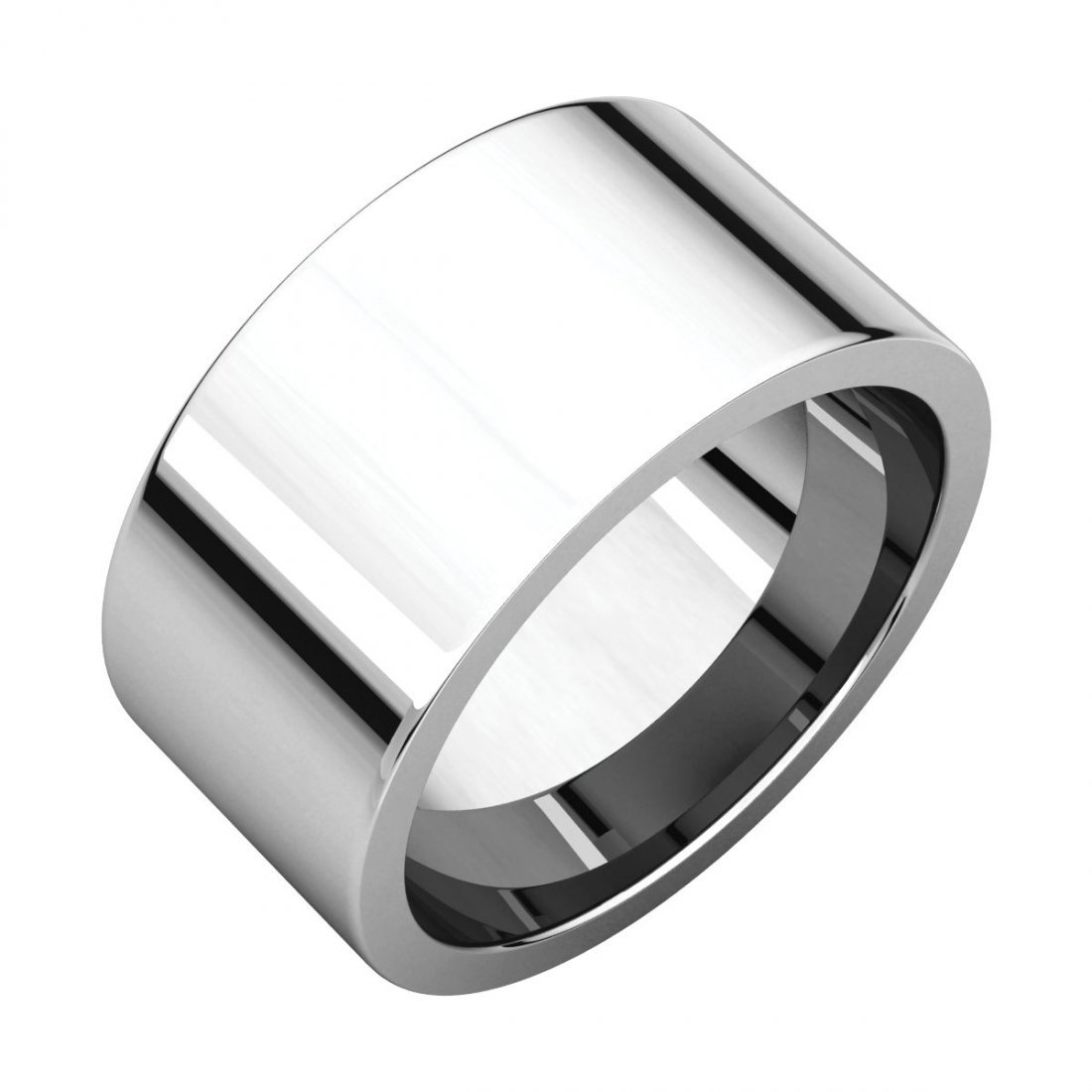 Ring - 14k White Gold 10mm Flat Comfort Fit Band