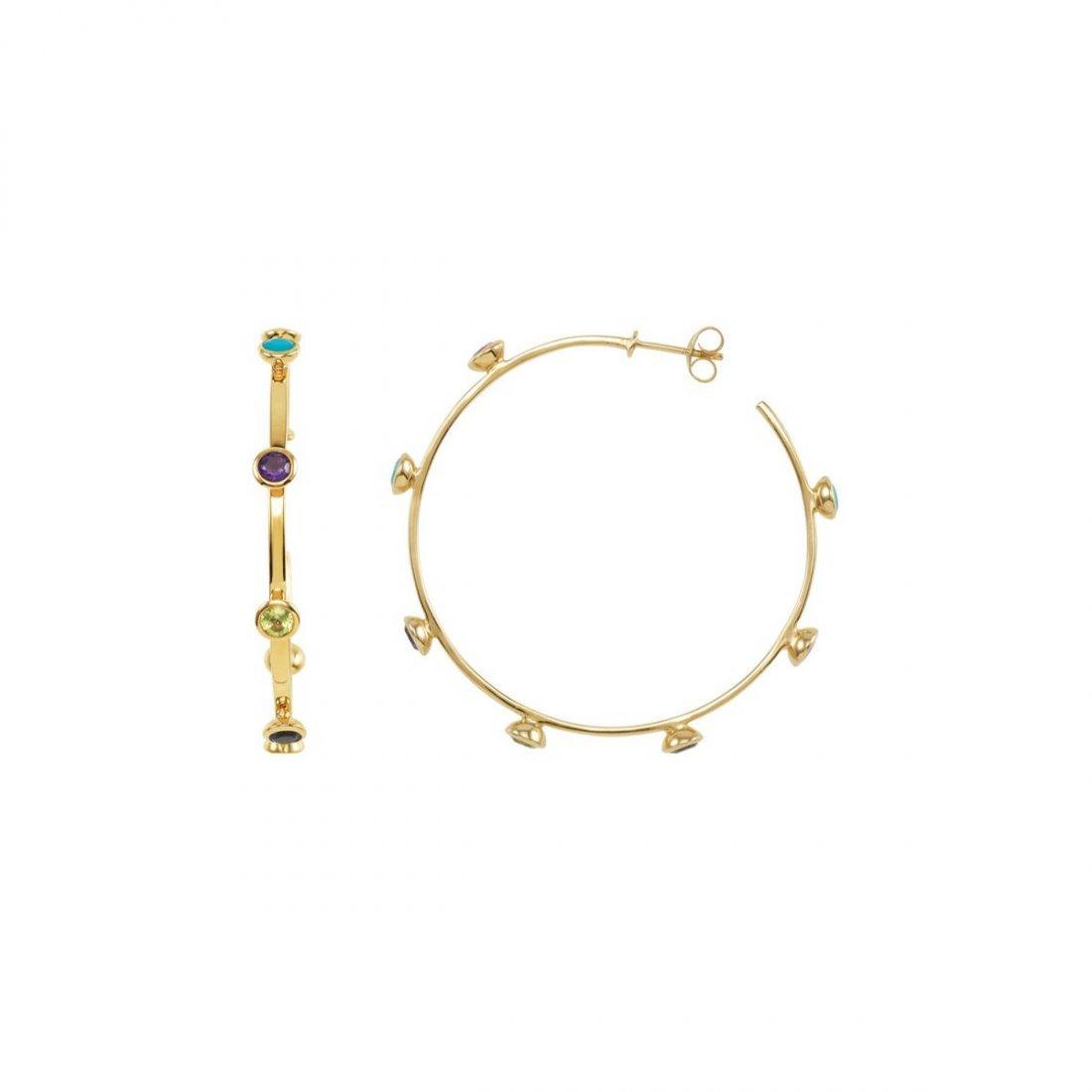 Earrings - 18K Vermeil Pink Tourmaline, Turquoise,