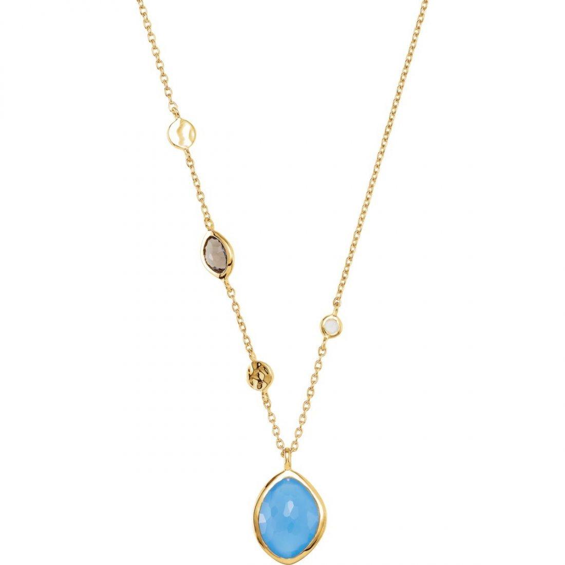 Necklace - 18K Yellow Vermeil  Blue Chalcedony, Smoky