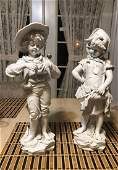 """Antique Signed J. Morie Parian Ware French 16"""" Statues"""
