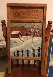 Vintage Folk Art Painting on a Antique Wash Board by...