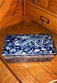 Very Rare Blue & White 6 Character Mark Dragon Box