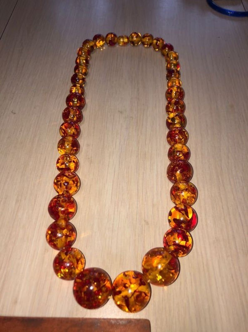"""Vtg Graduated 24"""" Large Amber Bead Necklace Preowned"""
