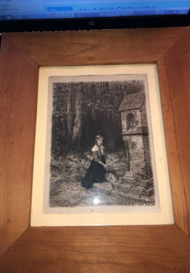 Prayer in the Forest Etching/Art Print Picture Frame...