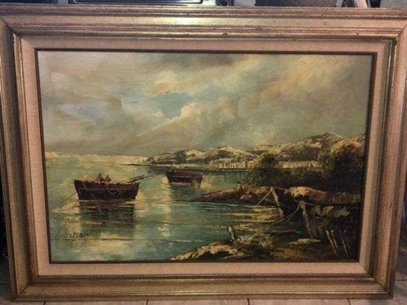 Vintage Huge LEPRINI Mediterranean Cove Oil Painting.
