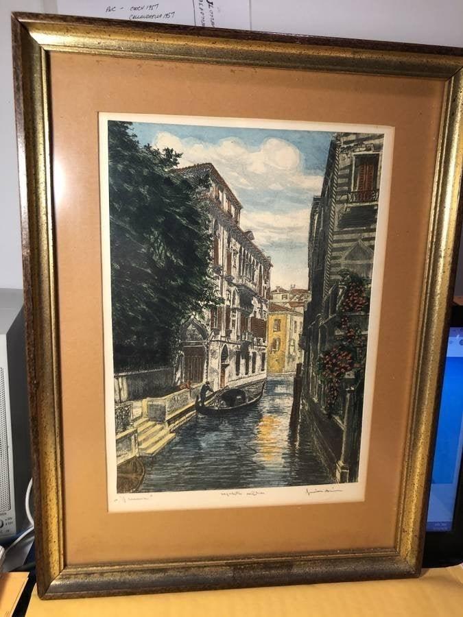 Vintage Venice Scene Signed Lithograph Framed Print...