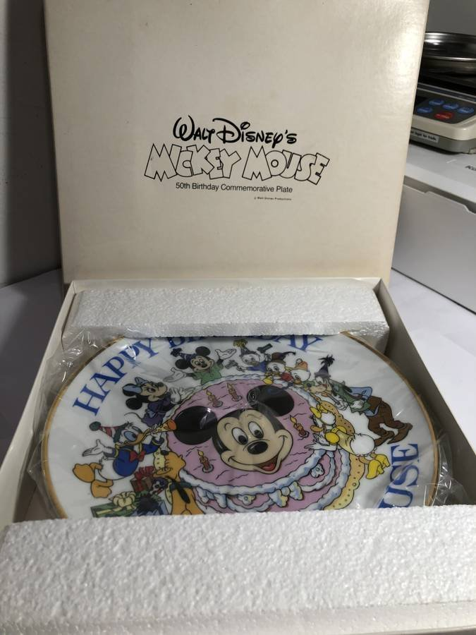 Happy 50th Birthday Mickey Mouse Commemorative Plate