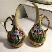 """Vintage Pair Ucagco Ceramics Japan Bud Vases 7"""" Tall..."""