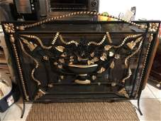 Antique Cast Iron Fireplace Cover & Screen Superb....