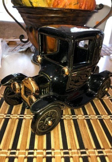 Vintage Heavy Ceramic Black Old Car with Gold Accents..